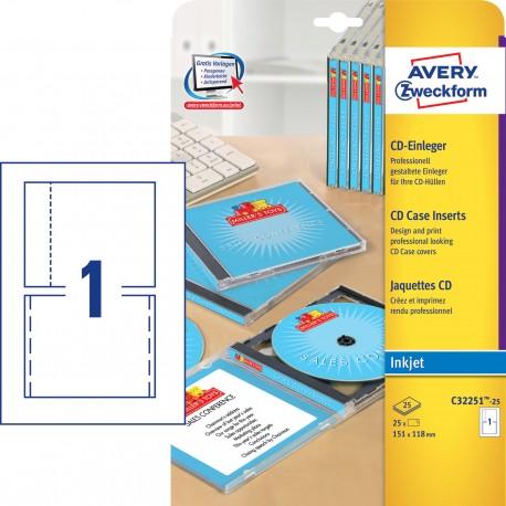 Avery Zweckform C32251-25 mikroperforált CD tokbetét 151 x 118 mm
