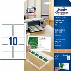 Avery Zweckform C32011-10 200g-os matt egyoldalas fehér névjegykártya, sima élekkel