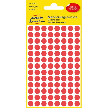 Avery Zweckform 3010 öntapadó jelölő címke- piros, 8 mm