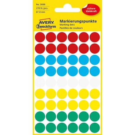 Avery Zweckform 3088 öntapadó jelölő címke  - vegyes - 5 szín, 12 mm