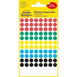 Avery Zweckform 3090 öntapadó jelölő címke - vegyes - 6 szín, 8 mm