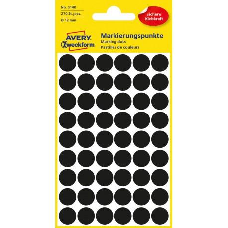 Avery Zweckform 3140 öntapadó jelölő címke - fekete, 12 mm