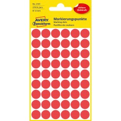 Avery Zweckform 3141 öntapadó jelölő címke - piros, 12 mm