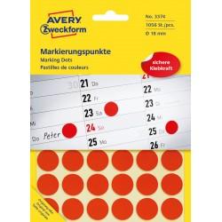 Avery Zweckform 3374 öntapadó jelölő címke  -  piros, 18 mm