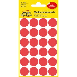 Avery Zweckform 3595 öntapadó visszaszedhető jelölő címke  - piros  Ø 18 mm