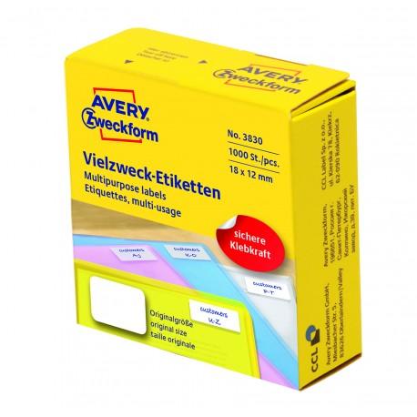 Avery Zweckform 3830 univerzális címkék adagoló dobozban 18x12mm - fehér