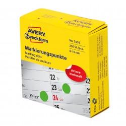 Avery Zweckform 3855 öntapadó jelölőpont adagoló dobozban - zöld 19 mm