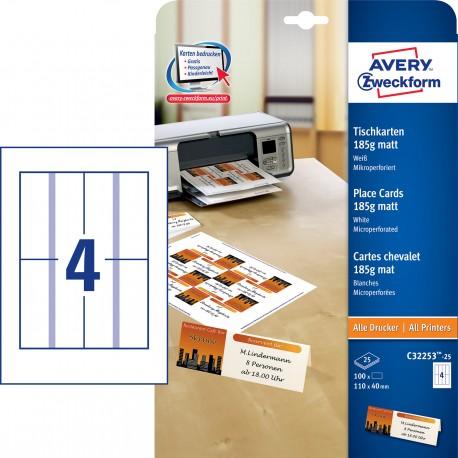 Avery Zweckform C32253-25 185g-os matt egyoldalas fehér ültetőkártya, mikroperforált él