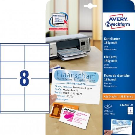 Avery Zweckform C32254-25 185g-os matt kétoldalas nyilvántartókártya, mikroperforált él