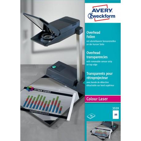 Avery Zweckform 3559 írásvetítő fólia, rövid oldalán érzékelőcsíkkal